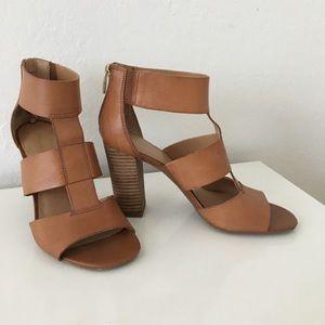 Tan leather sandal heels